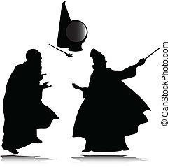 magicien, silhouettes, vecteur