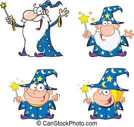 magiciens, heureux, collection, ensemble
