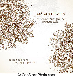 Magick flowers vintage background