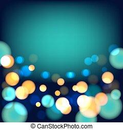 magico, festivo, fondo, con, luci luminose
