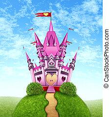 magico, rosa, castello