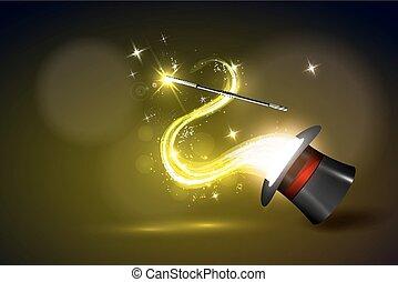magiczny, tło, różdżka, ogień