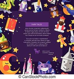 magie, éléments, carte postale, fée, conception, contes, icônes, plat, illustration