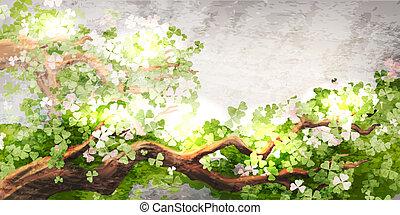 magie, branche arbre
