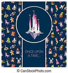 magie, carte postale, fée, conception, contes, icônes, plat, illustration