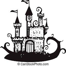 magie, château, vigne, couvert