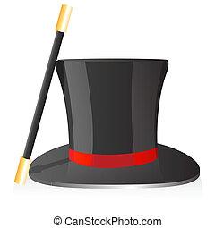 magie, chapeau, baguette