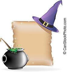 magie, chapeau, chaudron, ébullition