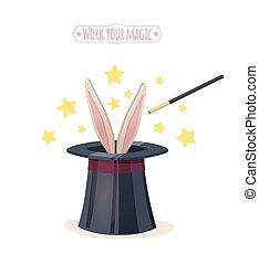 magie, chapeau haut de forme, rabbit.