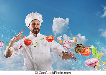 magie, chef cuistot, prêt, plat, cuisinier, nouveau