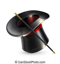 magie, cylindre, chapeau
