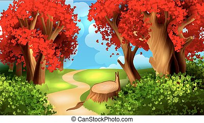 magie, dessin animé, paysage