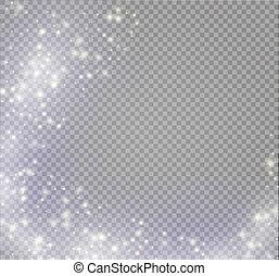 magie, effect., effet lumière, lumière, isolé, vecteur, flamme, étoile, étincelle, burst., spécial, lueur