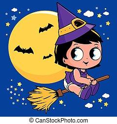 magie, elle, sky., balai, voler, halloween, illustration, vecteur, sorcière, nuit