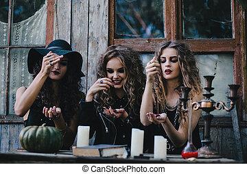 magie, exécuter, vendange, rituel, trois, sorcières