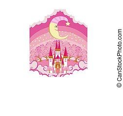 magie, fée, lune, conte, château, sourire