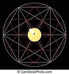 magie, géométrie, signe., ritual., sacré, bougie