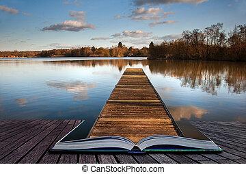 magie, lac, jetée, livre, peche, coing, pages, dehors