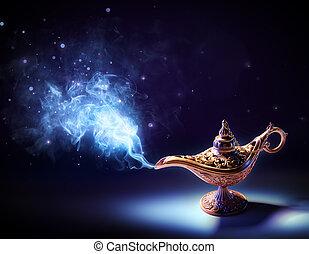 magie, -, lampe, voeux, fumée, venir