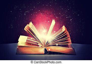 magie, livre, ouvert