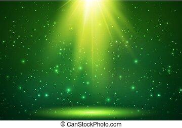 magie, lumière, sommet, vecteur, arrière-plan vert