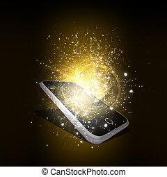 magie, lumière, téléphone, étoiles, tomber, intelligent