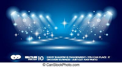 magie, projecteurs, à, bleu, rayons