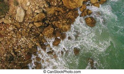magie, rivages, rochers, atlantique, eclabousse, ocean., vagues, mouvements