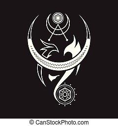 magie, rune, lune