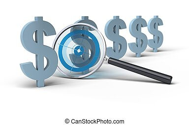 magifying glass with a focus inside in front of Dollar symbol, image is over a white background, blue tones