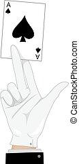 magik, ręka, karta, as