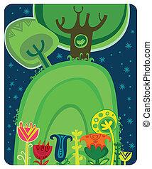magique, night., forêt