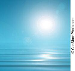 magisch, blauwe achtergrond, hemel, en, peacefull, water