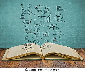 magisch, boek, met, handel concept, en, grafiek