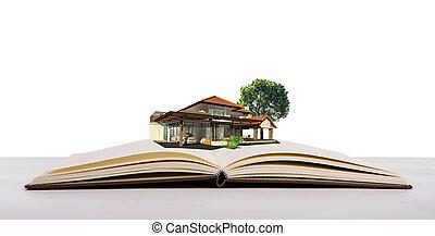 magisch, boek, met, woning, en, boompje