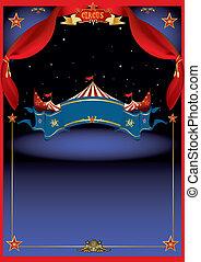 magisch, circus, door, nacht
