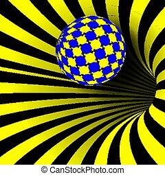 magisch, effect., tunnel, illusion., dynamisch, spiraal, illustratie, verdraaid, motie, hypnose, draaikolk, vector., kolken, geometrisch, vorm., fallacy