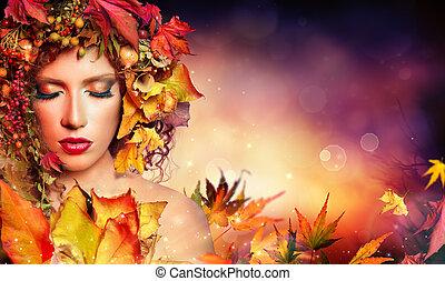 magisch, herfst, vrouw, -, beauty, mode