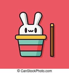 magisch, hoedje, konijn, pictogram