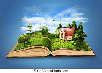 magisch, house., pagina, boek, nature., grows, weide