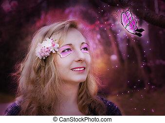 magisch, jonge vrouw , met, butterfly.
