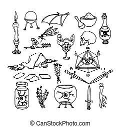 magisch, pulver, schwarz, &, satz, bestandteile, magisches, ...