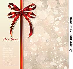 magisch, schleife, hintergrund., vektor, weihnachten, rotes