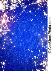 magisch, sparklers, kunst, achtergrond, kerstmislicht