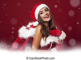 magisch, tijd, met, sexy, kerstman, vrouw