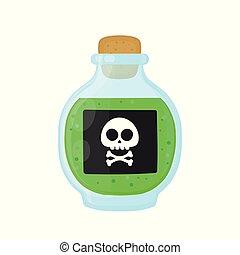 magisches, gift, grün, flasche, giftig, säure