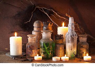 magisches, halloween, dekoration, hexe, apotheker, gläser, ...