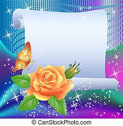 magisches, hintergrund, mit, papier, und, rose