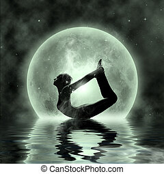 magisches, joga, -, mondschein, meditation