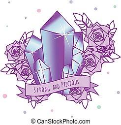 magisches, kristalle, mit, blumen, und, motivational, werbespruch, auf, ribbon., mädels, t�towierung, sticker., vektor, abbildung, in, pastell, gotische , farben
